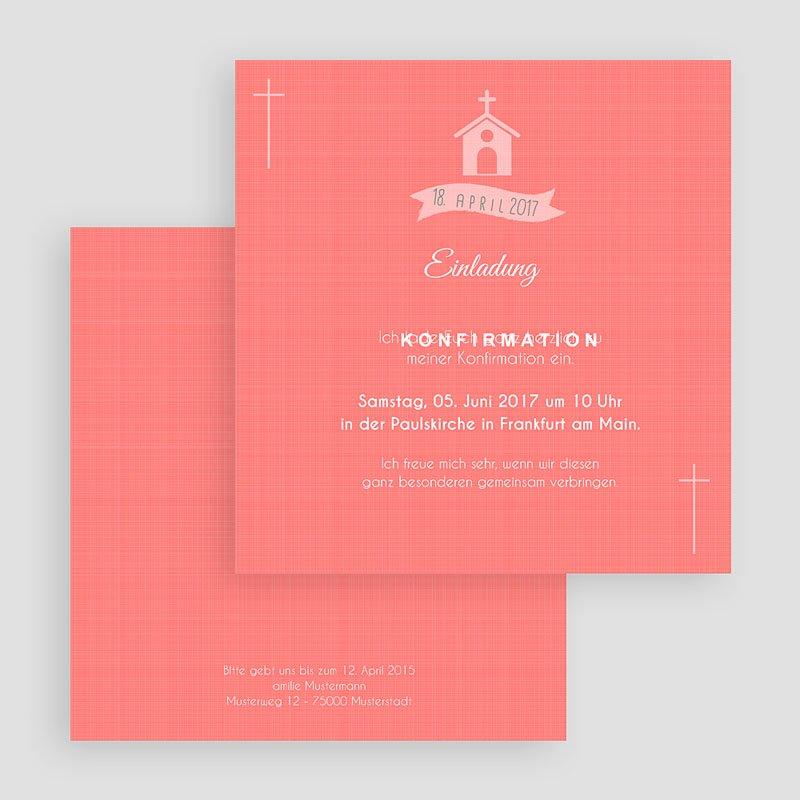 Einladungskarten Konfirmation - Kirche und Banderole 40579 thumb