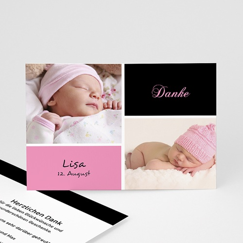 Dankeskarten Geburt Mädchen - Glücksgefühl - rosa 4058