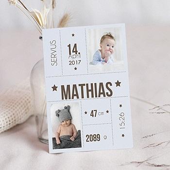 Geburtskarten für Jungen - Geburtsdaten - 0