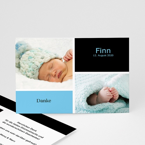 Dankeskarten Geburt Jungen - Danksagung Drei Babyfotos 4066
