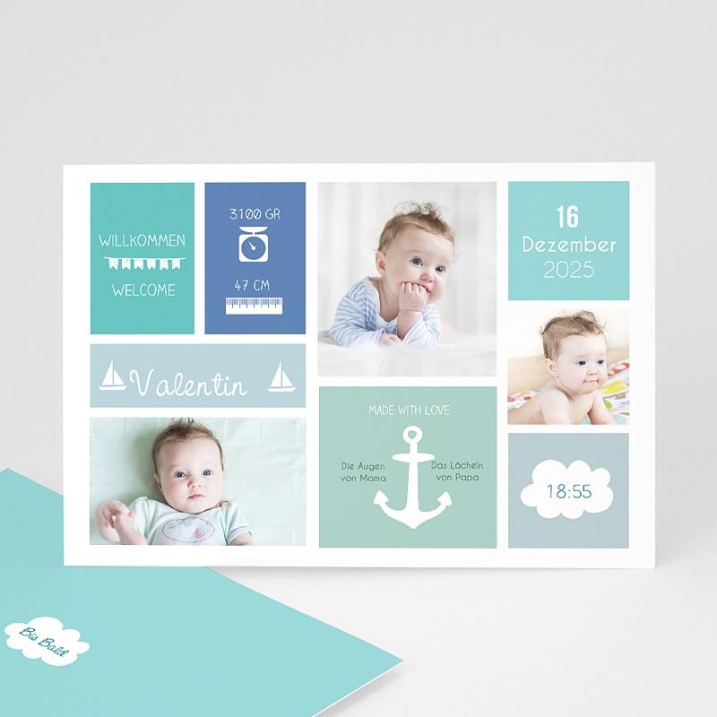 Geburtskarten für Jungen Kleiner Anker
