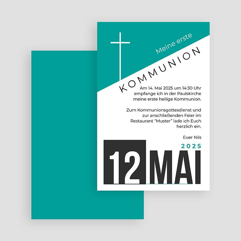 Einladungskarten Kommunion fur Jungen Design Kreuz gratuit