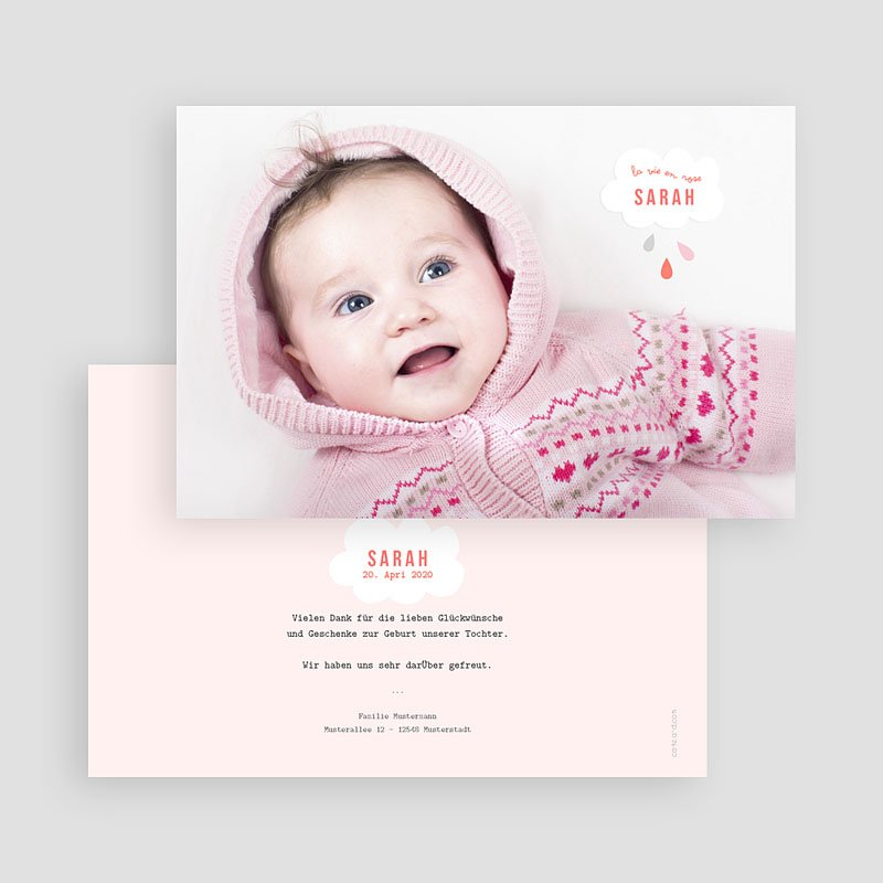 Geburtskarten für Mädchen Rosa Wolke gratuit
