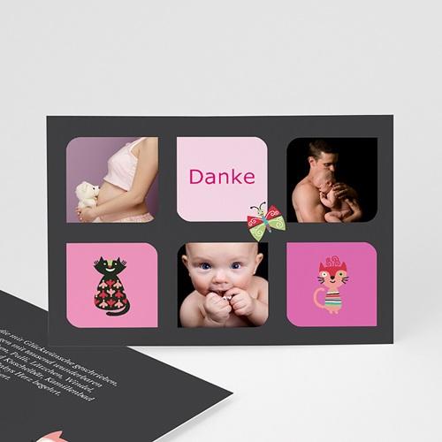 Dankeskarten Geburt Mädchen - Miau 40838