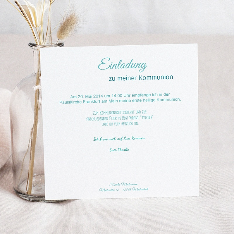 Einladungskarten Kommunion fur Jungen Multiple Typographie pas cher
