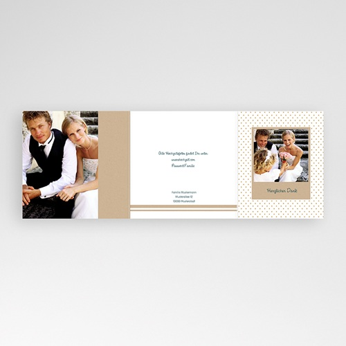 Danksagungskarten Hochzeit  Goldweiss gratuit