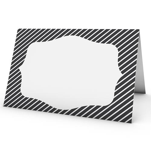 tischkarten hochzeit personalisiert schwarz weiss gestreift. Black Bedroom Furniture Sets. Home Design Ideas