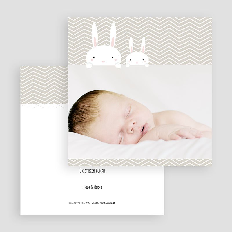 Geburtskarten mit Kaninchen 2 Hasen gratuit