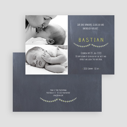 Geburtskarten für Jungen Kreidedesign baby gratuit