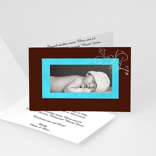 Einladungskarten Taufe Mädchen - Taufkarte Chocolat und Blau 4174