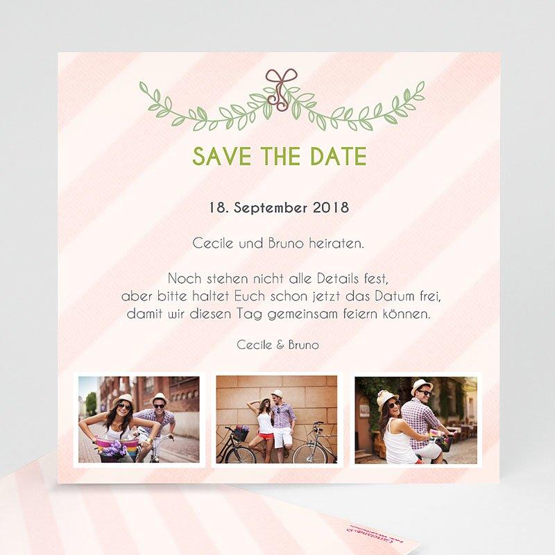 Save The Date Karten Hochzeit Streifendesign