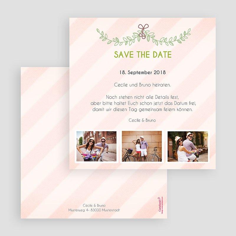 Save The Date Karten Hochzeit Streifendesign gratuit