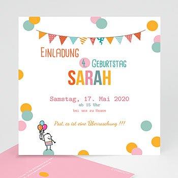 Geburtstagseinladungen Mädchen - Fähnchen und Ballons - 0