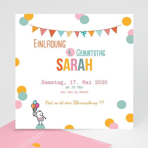 Einladungskarten Geburtstag Mädchen Fähnchen und Ballons