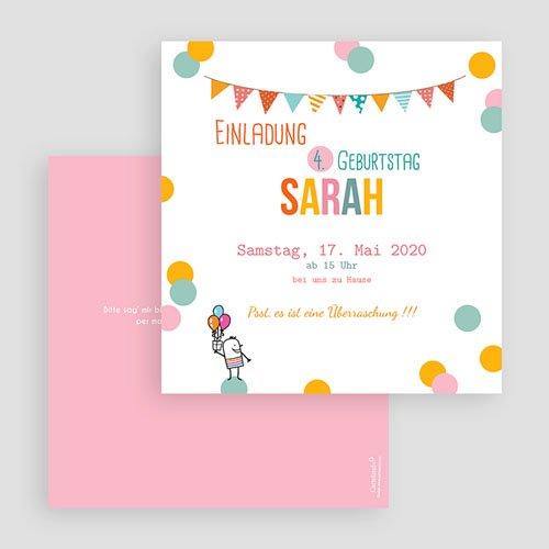 Geburtstagseinladungen Mädchen - Fähnchen und Ballons 41836 thumb