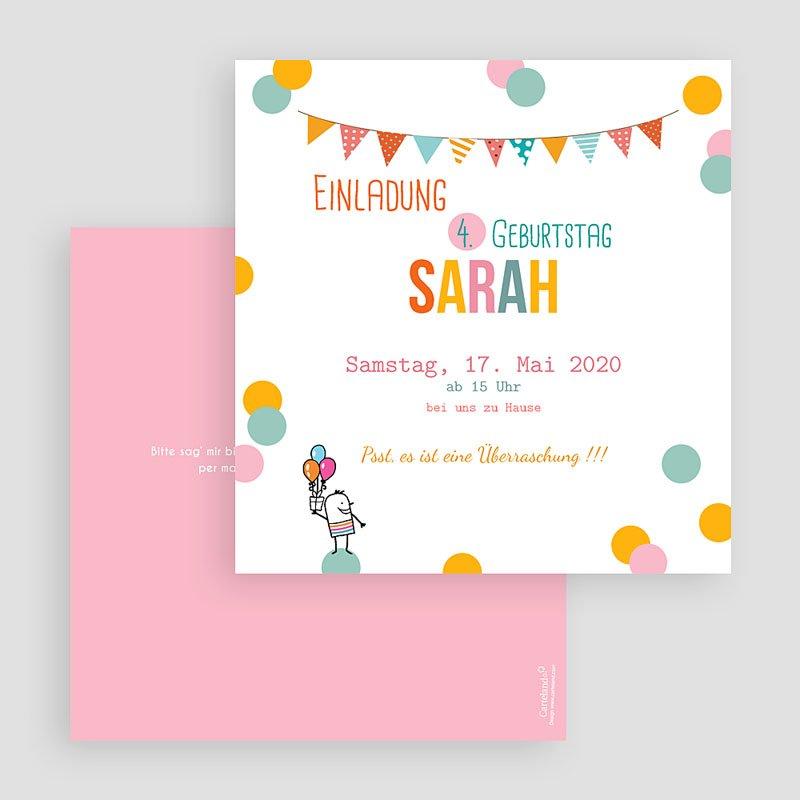 Einladungskarten Geburtstag Mädchen Fähnchen und Ballons gratuit