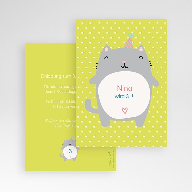 Einladungskarten Geburtstag Mädchen Kätzchen pas cher