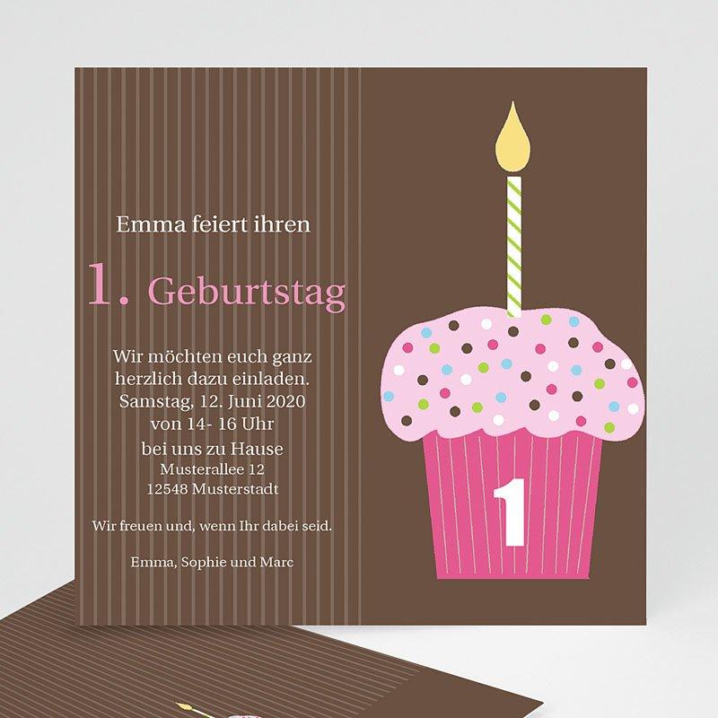 Einladungskarten Geburtstag Mädchen Cupcake rosa