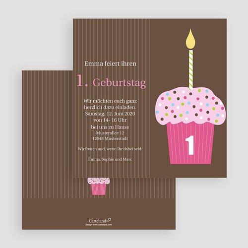 Einladungskarten Geburtstag Mädchen Cupcake rosa gratuit