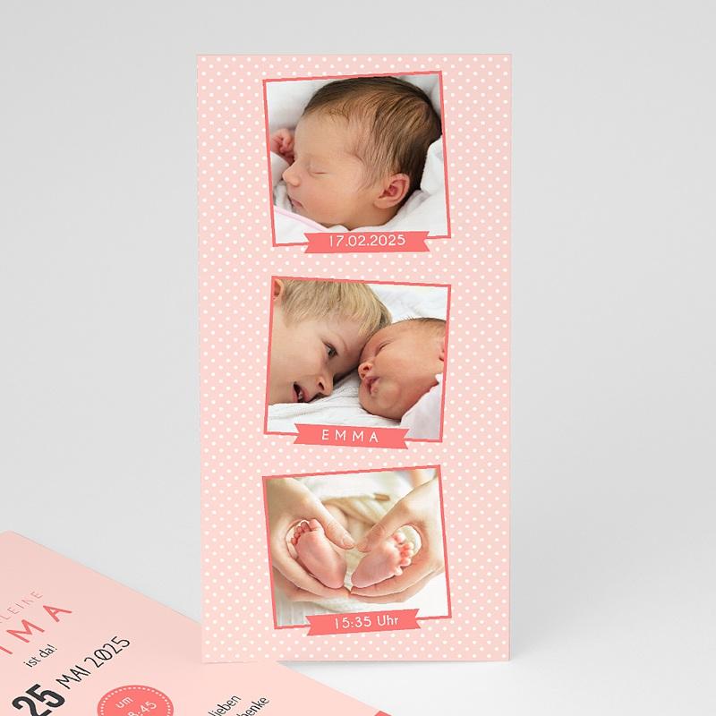 Geburtskarten für Mädchen Fotoautomat rosa