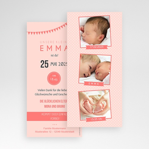 Geburtskarten für Mädchen Fotoautomat rosa pas cher