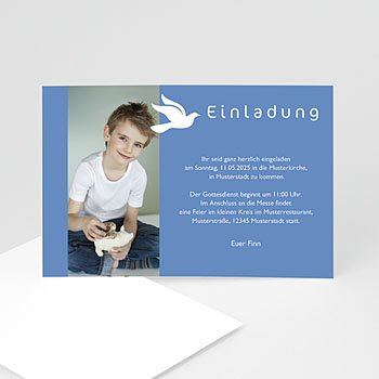 Einladungskarten Kommunion Jungen   Taube   0