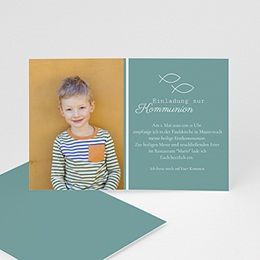 Einladungskarten Kommunion Jungen - Spiritueller Fischfang - 0