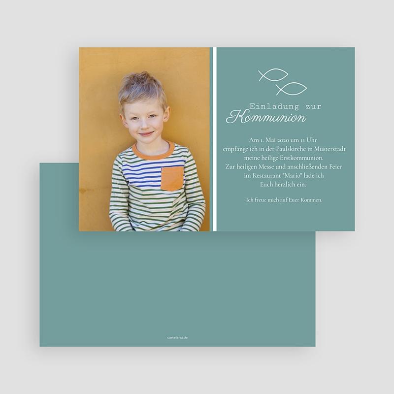 Einladungskarten Kommunion fur Jungen Fischsymbol  gratuit