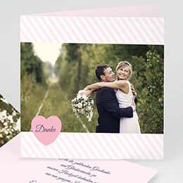 Danksagungskarten Hochzeit  - Rose Bonbon - 0