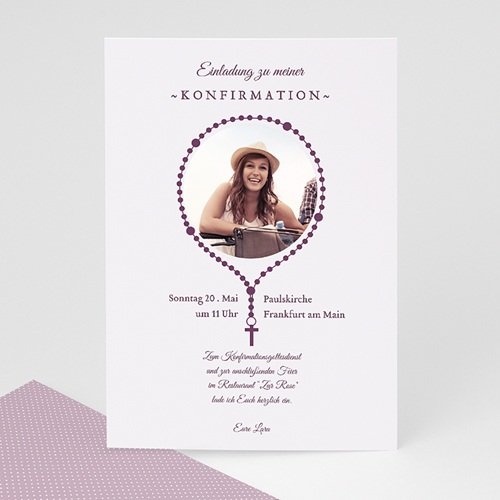 Einladungskarten Konfirmation Kreuzanhänger