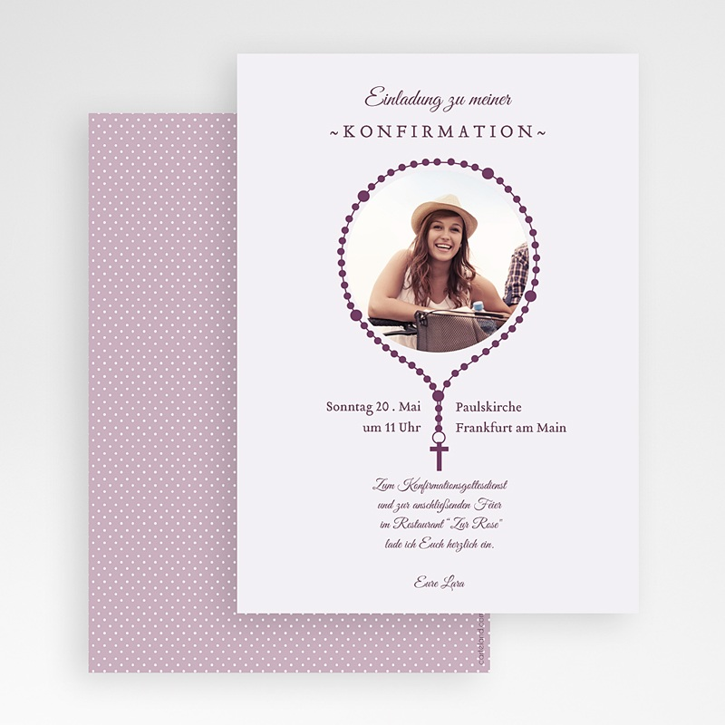 Einladungskarten Konfirmation Kreuzanhänger gratuit