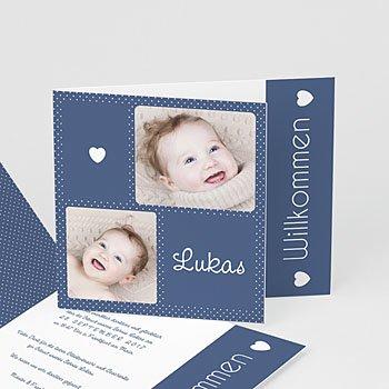 Geburtskarten für Jungen - Pünktchen in Blau. - 0