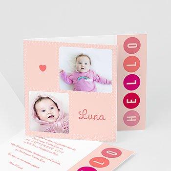 Geburtskarten für Mädchen Pünktchen in Rosa