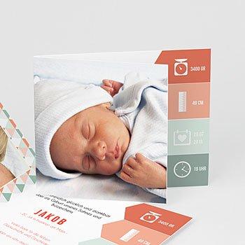 Geburtskarten für Mädchen - Zick-Zack - 0