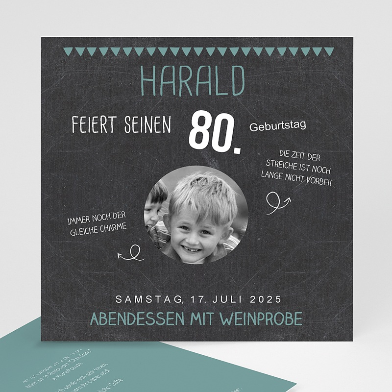 Erwachsener Einladungskarten Geburtstag 80 Jahre Schiefertafel