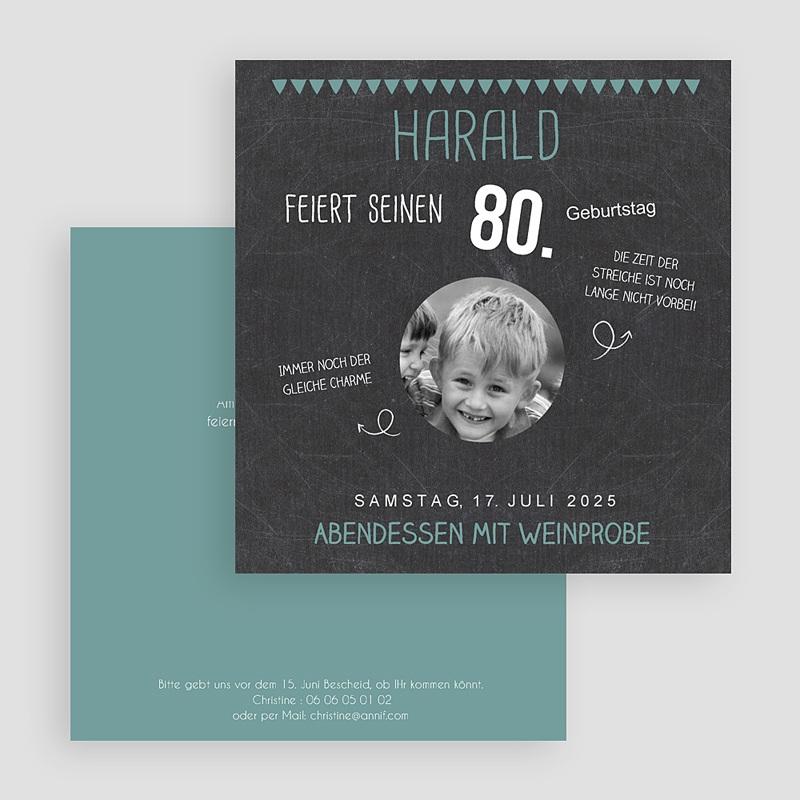 Erwachsener Einladungskarten Geburtstag 80 Jahre Schiefertafel gratuit