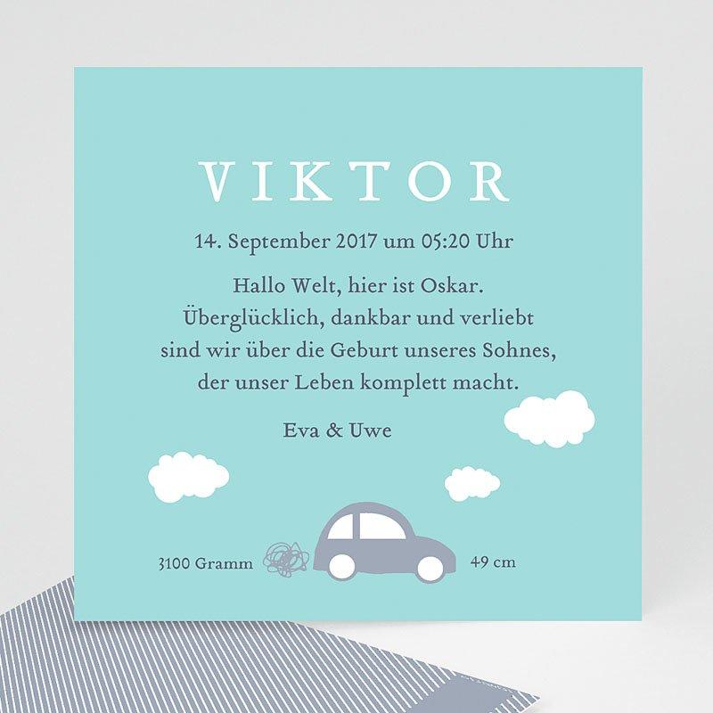Blau Geburtskarten Car