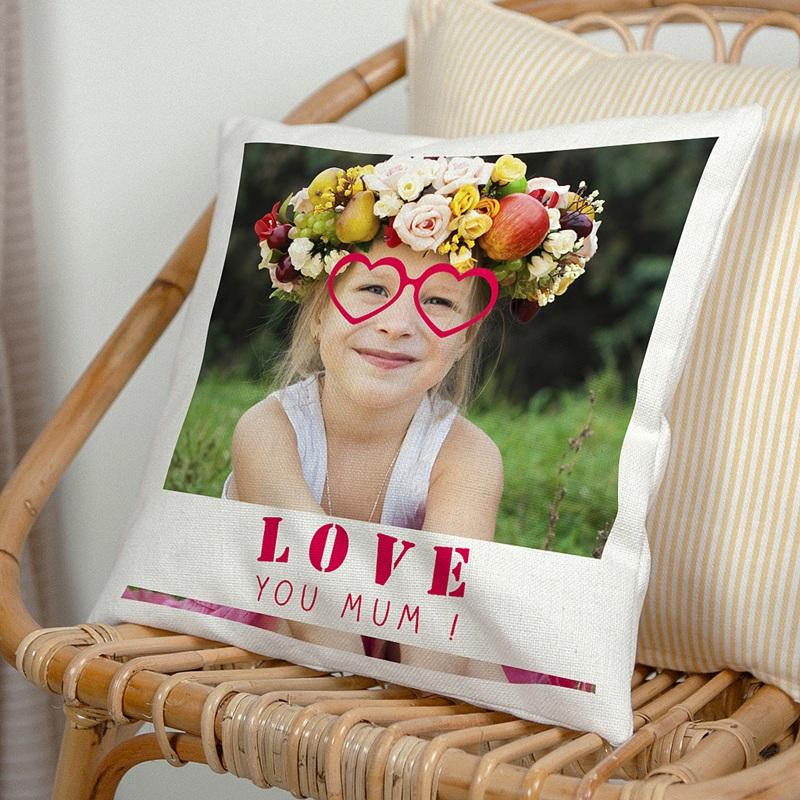 Personalisierte Foto-Kissen Love you mum