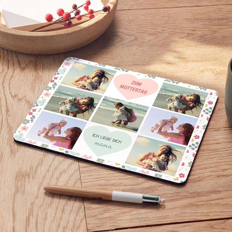 Personalisierte Foto-Mousepad Herzen