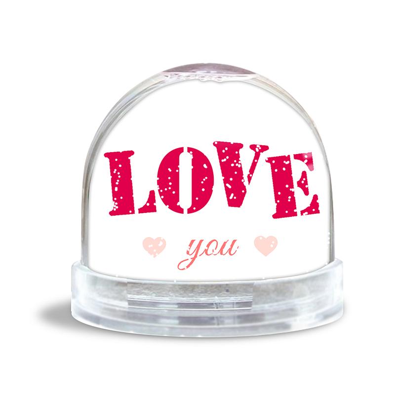 Personalisierte Foto-Schneekugel Pink Love