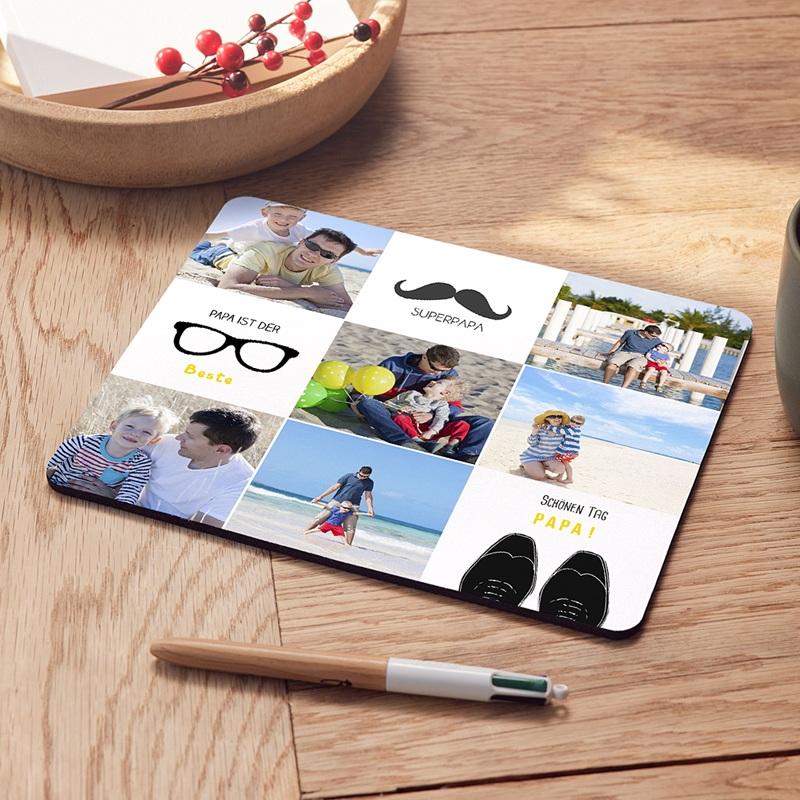 Personalisierte Foto-Mousepad Papa freu dich