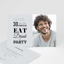 Einlegekarte Anniversaire adulte Eat, Drink and Party