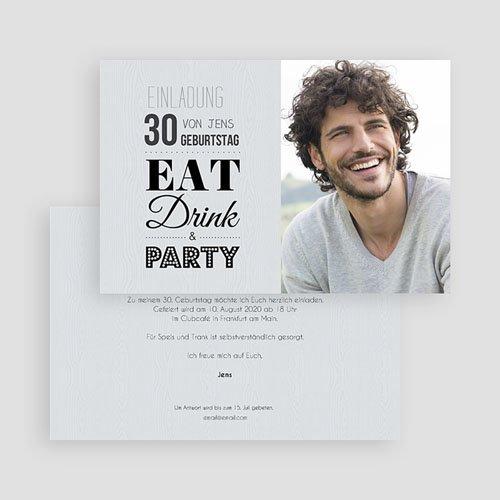 Erwachsener Einladungskarten Geburtstag Eat, Drink and Party gratuit