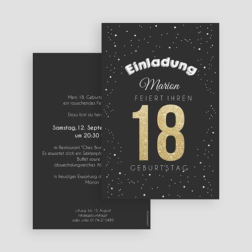 Erwachsener Einladungskarten Geburtstag Goldene 18 gratuit