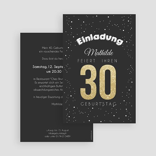 Erwachsener Einladungskarten Geburtstag Goldene 30 gratuit