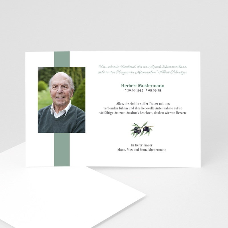 Weltlich Dankeskarten Trauer Olive