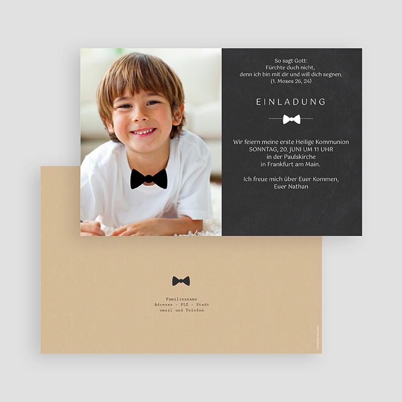 Einladungskarten Kommunion fur Jungen Festliche Fliege gratuit