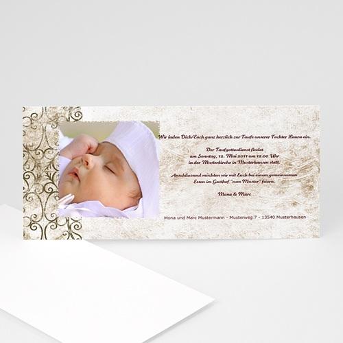 Einladungskarten Taufe Mädchen - Taufkarte Schlichte Arabesken 4318