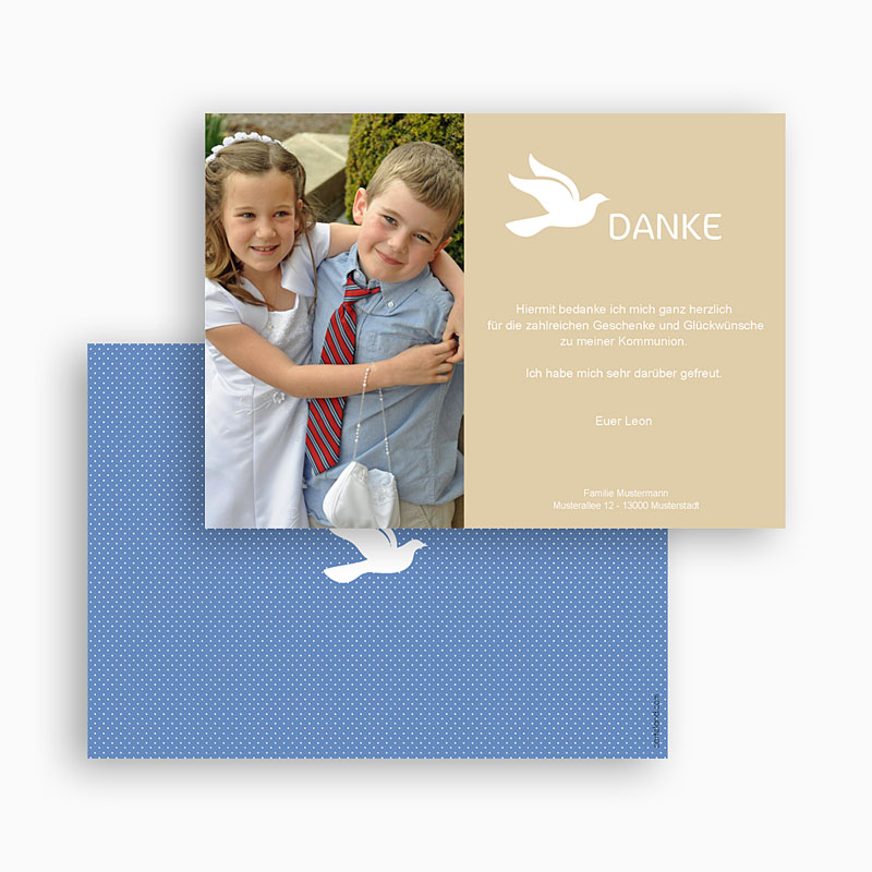 Dankeskarten Kommunion Jungen Taube gratuit