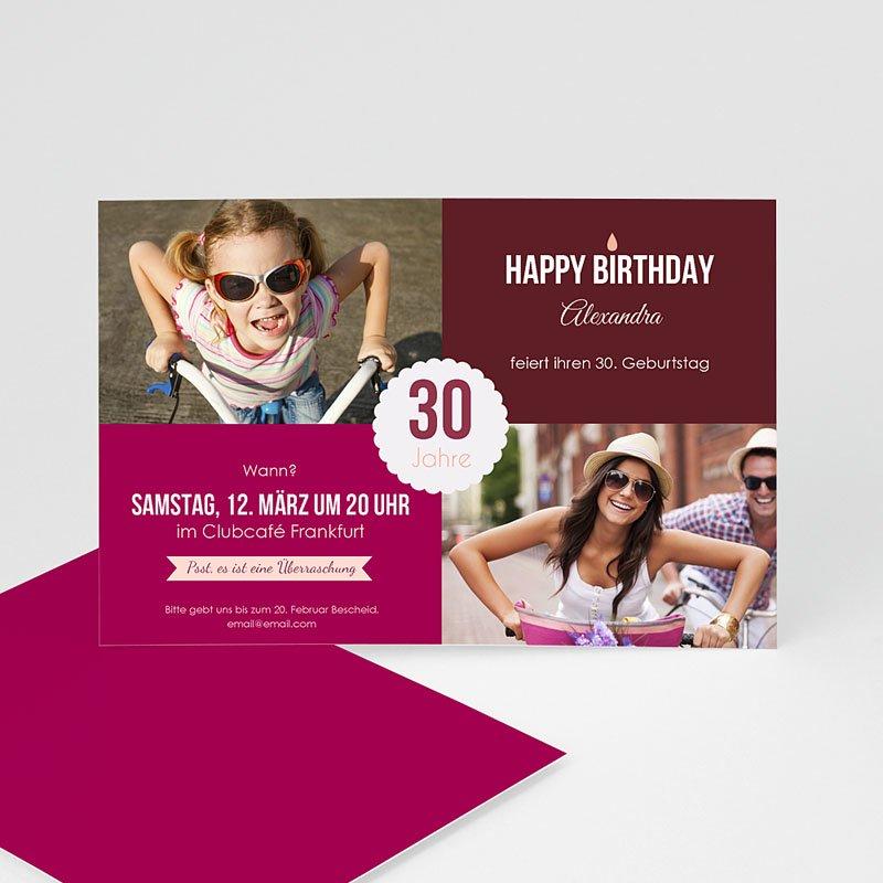 Erwachsener Einladungskarten Geburtstag Weinrot